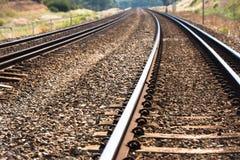 Parallel Rural Railway tracks vanishing point Stock Photo