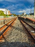 Parallel Rusty Train Tracks, Perth,  Western Australia. Parallel rustedtrain tracks perth western australia rusty royalty free stock photo