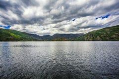 Parallel. Sanabria lake, Sanabria Natural Park, Spain Royalty Free Stock Photos