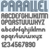 """PARALLEL"" stripes retro style font, vector alphabet. Stock Images"