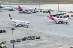 Parallel taxiway operation at Istanbul Ataturk Airport Stock Photo