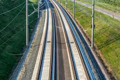 Expansion of infrastructure with track construction for high-speed trains stock image