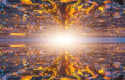 Parallel universe landscape. And travel into a wormhole or by a time machine. Two specular universes connected by a black hole in the deep space. Futuristic royalty free stock photos