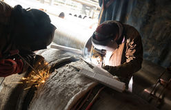 Parallel welding of two pipe welders simultaneously host large d Stock Images