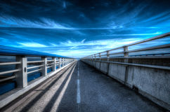 Parallel world. A bridge near the Strasbourg and Khel Stock Photos