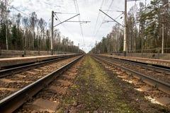 Parallele Eisenbahnlinien Lizenzfreie Stockfotos