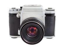 Parallell kamera på medelformatfilmen som isoleras på en vit bakgrund Royaltyfria Bilder