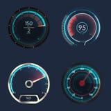 Parallell och futuristisk hastighetsmätare eller mått vektor illustrationer
