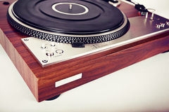 Parallell Retro tappning för stereo- skivtallrikvinylskivspelare Royaltyfri Fotografi