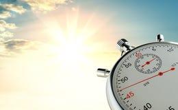 Parallell stoppur mot bakgrunden av soluppgång Arkivfoto