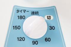 Parallell tidmätareapparat av en japansk elektrisk fan Royaltyfri Foto