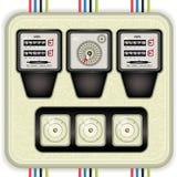 Parallella elektriska meter med säkringar Fotografering för Bildbyråer