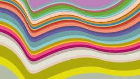 Parallelle lopende kleurrijke die strepen op golvende oppervlakte in kaart worden gebracht Stock Foto