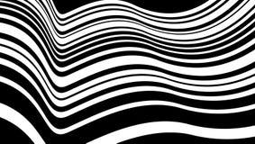 Parallelle lopende zwart-witte die strepen op golvende oppervlakte in kaart worden gebracht Royalty-vrije Stock Afbeelding