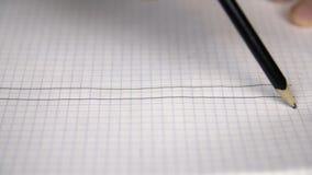 Parallellen för handteckningsraksträckan fodrar med blyertspennan på rutigt papper i anteckningsbok lager videofilmer