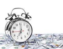 parallellla affärsidédollar överhopar tid för timmepengarpapper äganderätt för home tangent för affärsidé som guld- ner skyen til Royaltyfri Bild