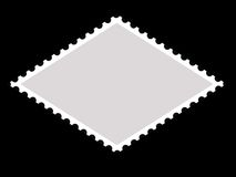 Parallelogram shape postage stamp frame. For your photo/picture Royalty Free Stock Image