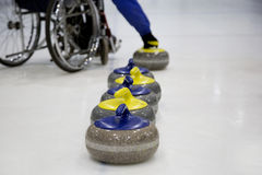 The Paralympic curling training wheelchair curling. Invalid sport Stock Images