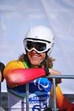 Paralympic die bergaf skiô Royalty-vrije Stock Foto