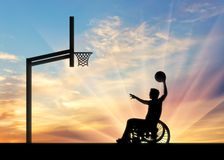 Paralympic disabled person in wheelchair playing basketball royalty free stock photos