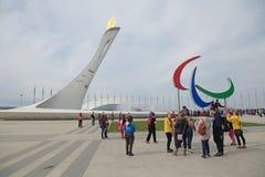 Paralympic Flamme und Agitos Lizenzfreie Stockbilder