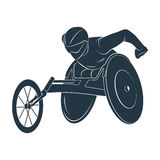 Paralympic games. The athlete in the wheelchair. Icon Paralympic wheelchair Rio disabled. Vector illustration Stock Photos
