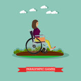 Paralympic games concept vector illustration in flat style. Vector illustration of disabled woman athlete in wheelchair taking part in sports competition Stock Photo