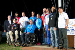 Paralympic Sailing Medalists at the 2013 ISAF World Cup Miami. MIAMI, February 2, 2013 - Paralympic sailing medalists at the 2013 ISAF World Cup Miami.  The 2014 Royalty Free Stock Photo