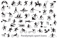 Paralympic sport icons. Black icons on white background Paralympic sports and athletes Stock Images