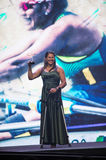 Paralympic wards. Rio de Janeiro, Brazil - december 07, 2016:  Claudia Cicero winner in the rowing category of the Paralympic wards that takes place in Vivo Rio Royalty Free Stock Photos