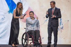 Paralympic wards. Rio de Janeiro, Brazil - december 07, 2016:  Clodoaldo Silva winner in the Miccolis Wards category of the Paralympic wards that takes place in Royalty Free Stock Photo