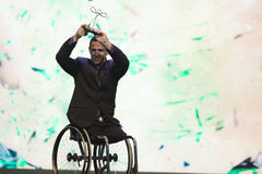 Paralympic wards. Rio de Janeiro, Brazil - december 07, 2016: Marcos Candido Sanches da Silva winner in the wheelchair basketball category of the Paralympic Royalty Free Stock Photography