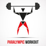 Paralympic Workout powerlifting logo with triangle. Man and barbell. Vector Illustration isolated on background Stock Image