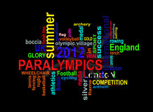 Paralympics 2012 - London Summer Games words cloud. Summer Paralympic games 2012 words cloud for a sporting event taking place in London, Great Britain stock illustration