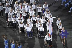 Paralympics Rio 2016. Rio de Janeiro, Brazil - september 07, 2016: opening ceremony of the Paralympics Rio 2016 at Maracana Stadium stock images