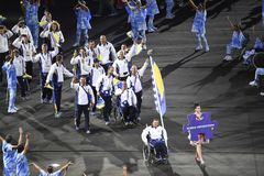 Paralympics Rio 2016. Rio de Janeiro, Brazil - september 07, 2016: opening ceremony of the Paralympics Rio 2016 at Maracana Stadium. Delegation of Bosnia stock photography