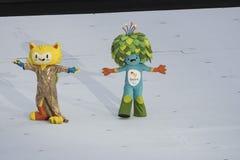Paralympics Rio 2016. Rio de Janeiro, Brazil - september 07, 2016: opening ceremony of the Paralympics Rio 2016 at Maracana Stadium. Mascot Vinicius e Tom stock photography