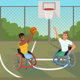 Sportsmen on wheelchairs playing with ball. Sports basketball court. Athletes with physical disabilities. Active stock illustration