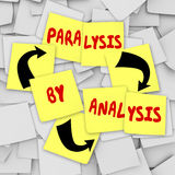 Paralysis by Analysis Sticky Notes Over Thinking Problem Indecis. Paralysis by Analysis words on sticky notes to illustrate overthinking a problem in a committee Stock Photography