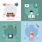 Paramédico Icons Set de la emergencia Imágenes de archivo libres de regalías