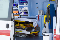 Paramedic. Interior view of the patient compartment of an ambulance Stock Photos