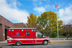 Paramedic Ambulance outside Firefighter Station Royalty Free Stock Photo