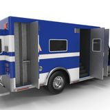 Paramedic Blue Van with opened doors  on white. 3D Illustration Stock Photos