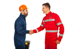 Paramedic and constructor worker meeting Stock Photography