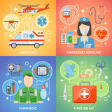 Paramedic 2x2 Design Concept. Set with medical equipment for first aid and emergency medicine flat vector illustration Royalty Free Stock Photos