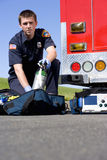 Paramedic with equipment, portrait, low angle view Stock Photo