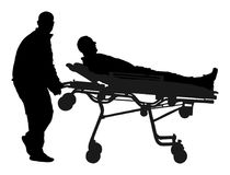 Paramedic evacuate injured person silhouette. Checking and helping people after body collapse. First aid training, help after crash accident transport injured royalty free illustration