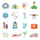 Paramedic Flat Colored Decorative Icons stock illustration