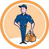 Paramedic Holding Bag Circle Cartoon. Illustration of an paramedic emergency worker in uniform standing holding bag set inside circle on isolated background done Stock Photos