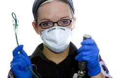 Paramedic Intubation. Paramedic intubating on white backgroud Stock Image